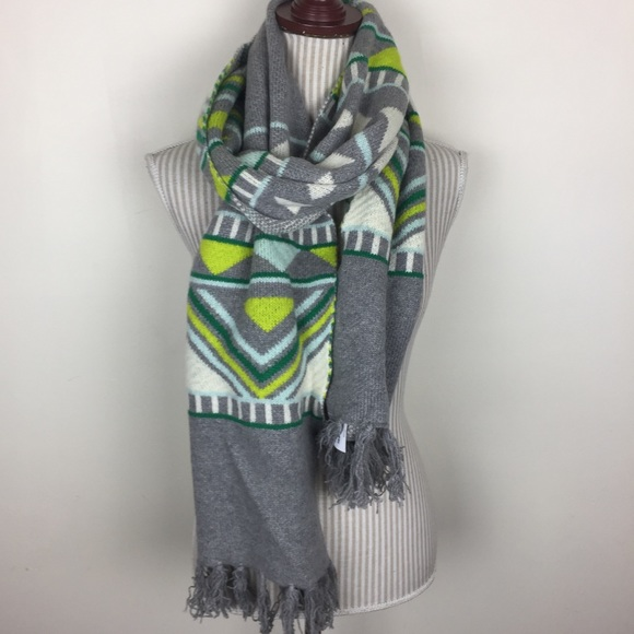 J. Crew Accessories - NWT J. Crew Gray Lime Print Chunky Winter Scarf